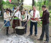 "Guides were invited to help with cooking of special Cossacks' soup ""kulish"""